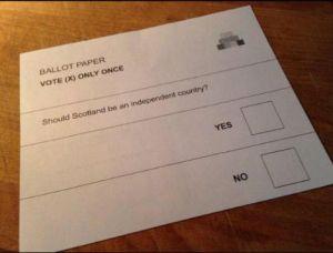 La papereta de vot pel referèndum d'Escòcia